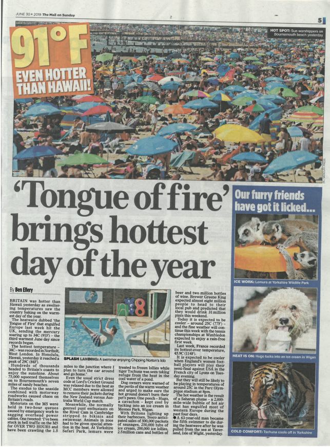 The Mail on Sunday Coverage Greene King